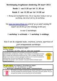 Klik hier voor het overzicht van de Brugklas Workshops - Zwijsen ...