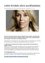Lotte Arndals sikre sundhedstips - Arndal Spa & Fitness