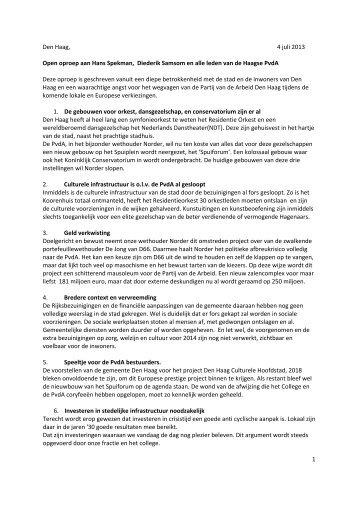 Open brief Spuiforuma aan Spekman Samsom en PvdA leden 4 juli 2013 ...