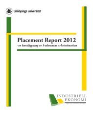 Placement Report 2012 - Industriell ekonomi, Linköping