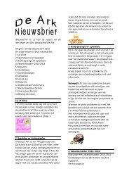 Nieuwsbrief 2013 - Oecumenische Basisschool De Ark