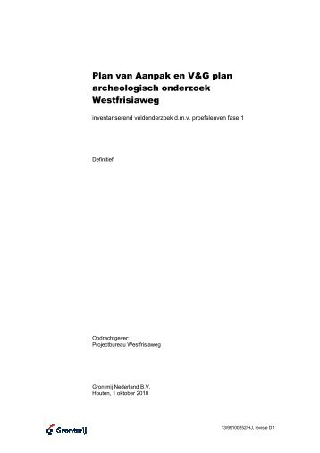 Plan van aanpak archeologisch onderzoek - N23 Westfrisiaweg