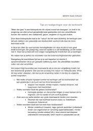 Tips en raadgevingen voor de leerkracht