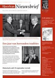 Nieuwsbrief september 2011 - Historische Vereniging Haerlem