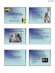 Workshop 2: Goede palliatieve zorg voor mensen met dementie