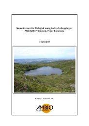 Konsekvenser for biologisk mangfold ved utbygging av Midtfjellet ...
