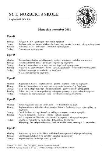 Menuplan november 2011 Uge 44 - Sct. Norberts Skole