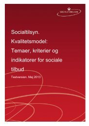 Temaer, kriterier, indikatorer for sociale tilbud