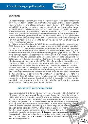 1. Vaccinatie tegen poliomyelitis Inleiding Indicaties en ...
