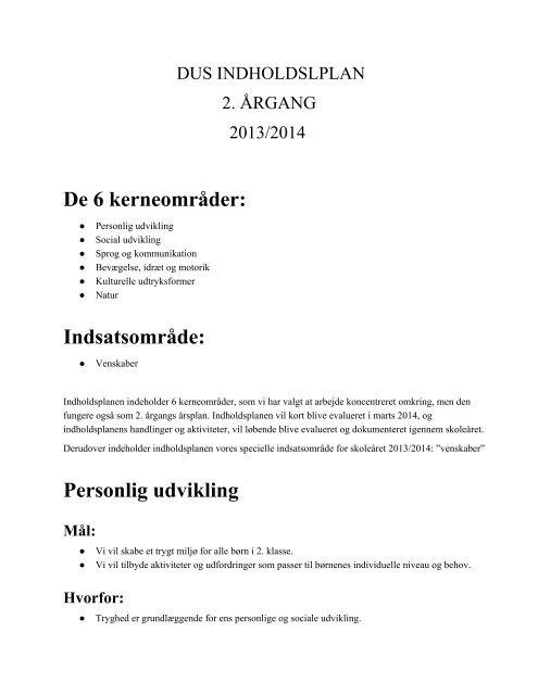 Indholdsplan for 2. årgang - Gl. Hasseris Skole
