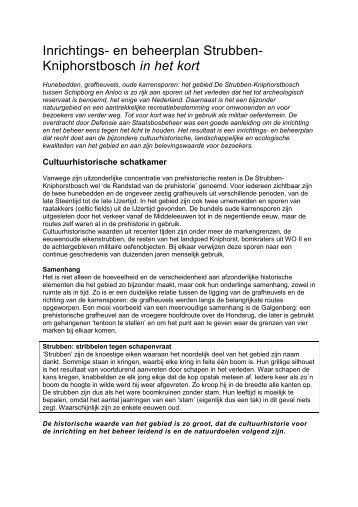 Samenvatting I&B-plan De Strubben - Kniphorstbosch - Drentsche Aa
