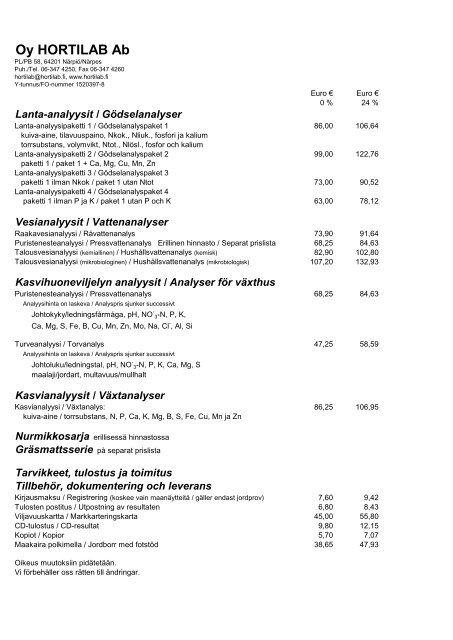 Hinnasto / Prislista 2013 - Hortilab