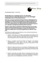 Nordic Mines tar in strategisk partner och säkerställer ...