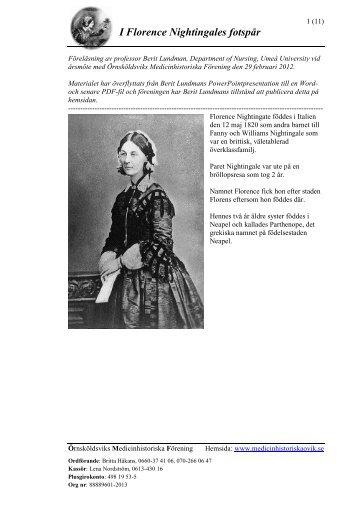 I Florence Nightingales fotspår - Örnsköldsviks Medicinhistoriska ...