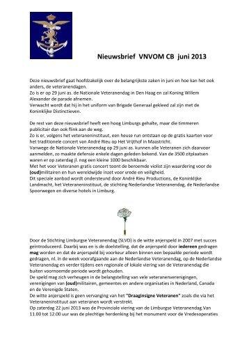 Nieuwsbrief VNVOM CB juni 2013 - Veteranen-online