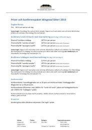 Priser och konferenspaket Idingstad Säteri 2013 - Basetool