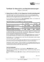 Tarifblatt für Netzzutritt und Netzdienstleistungen