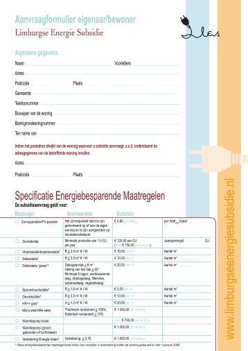 Algemene gegevens - Limburgse Energie subsidie