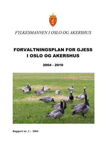 Forvaltningsplan for gjess i Oslo og Akershus 2004 - Fylkesmannen.no