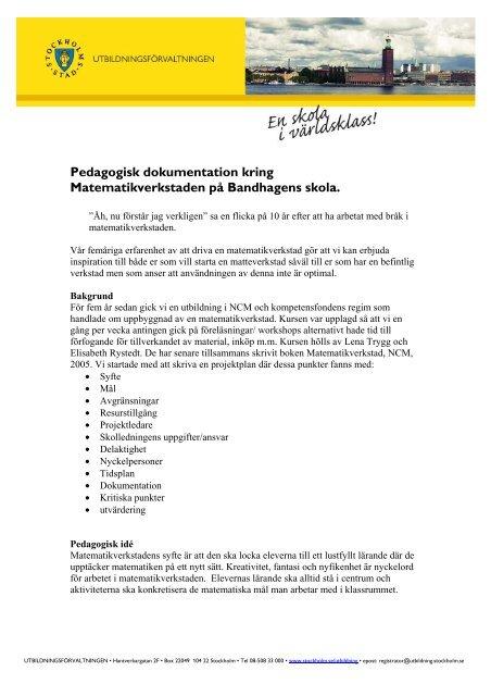 PDF: Bandhagens skola- matteverkstad - Pedagog Stockholm