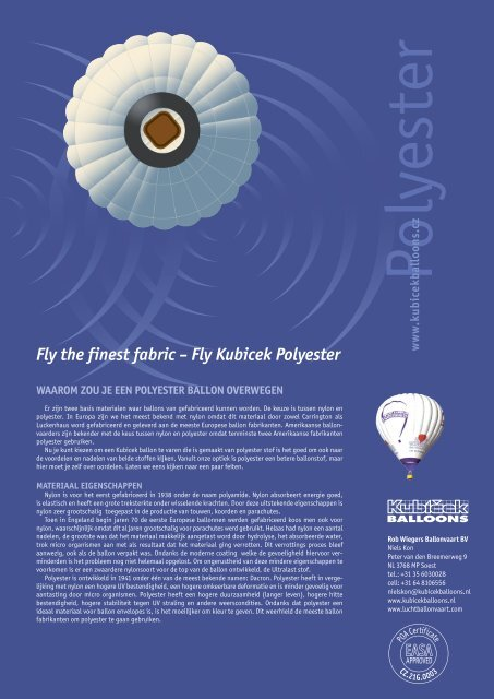 Fly the finest fabric – Fly Kubicek Polyester - Boutique Vizique
