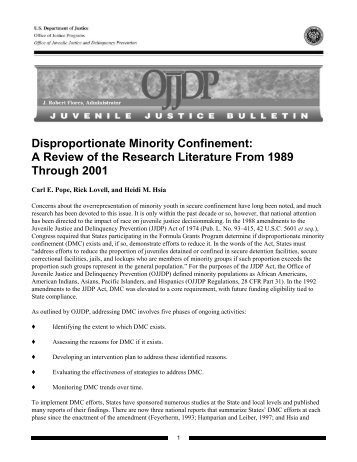 Disproportionate Minority Confinement: A Review of the Research ...