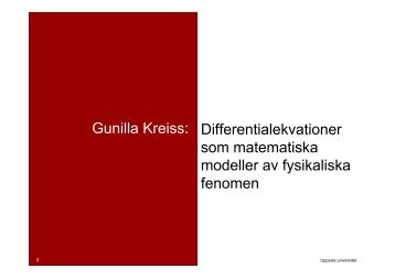 Gunilla Kreiss: Differentialekvationer som matematiska ... - Skolverket