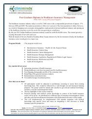 Post Graduate Diploma in Healthcare Insurance ... - Cliniminds