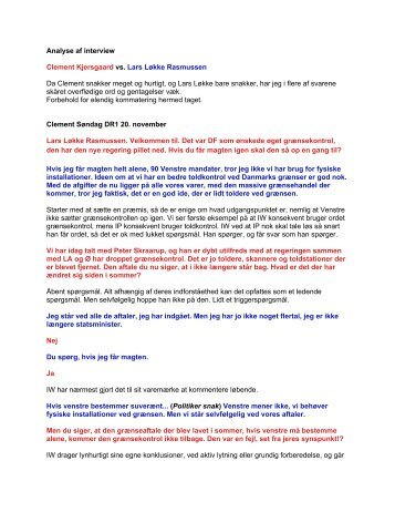 Analyse af interview Clement Kjersgaard vs. Lars Løkke Rasmussen ...