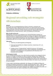 Regional utveckling och strategiskt tillväxtarbete - Karlskoga kommun