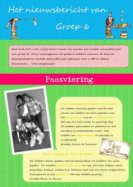 Het nieuwsbericht van Groep 6 Paasviering