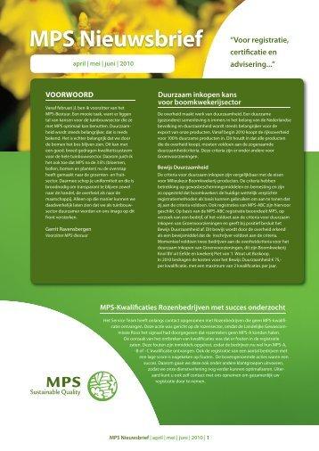 """MPS Nieuwsbrief """"Voor registratie, certificatie en advisering..."""""""