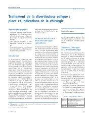 Traitement de la diverticulose colique : place et indications de la ...
