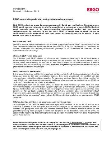 Persbericht Brussel, 11 februari 2011 ERGO neemt vliegende start ...