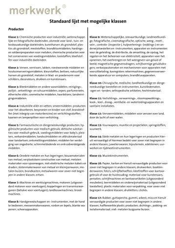 Standaard lijst met mogelijke klassen - MerkWerk
