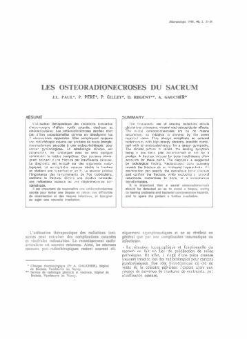 Les ostéoradionécroses du sacrum, Rhumatologie, 1988