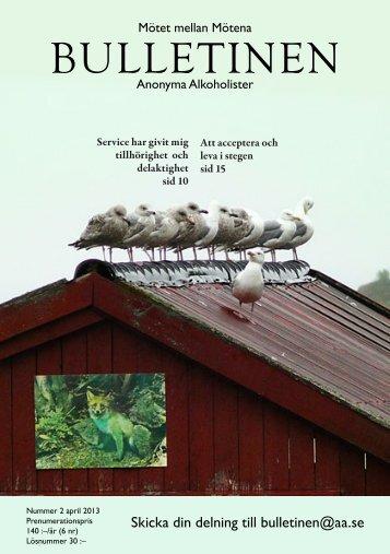 Bulletinen nr 2 2013 - Anonyma Alkoholister i Sverige