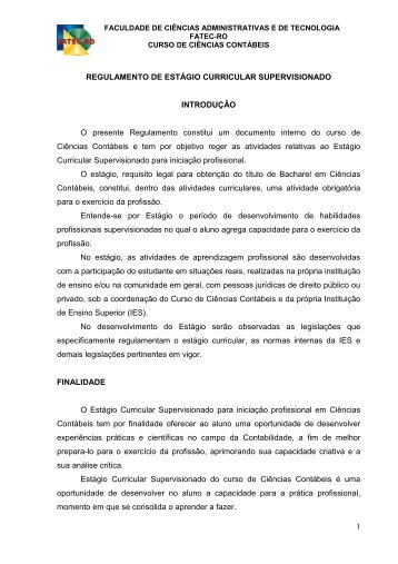 regulamento de estágio curricular supervisionado - Fatec