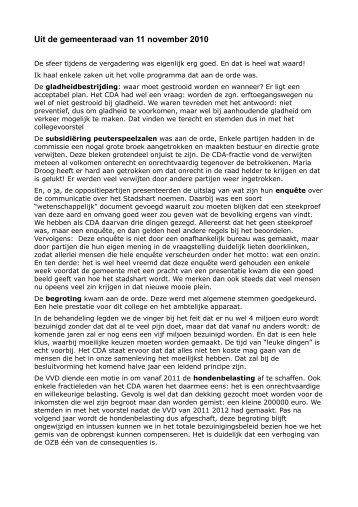 Uit de gemeenteraad van 11 november 2010 - CDA