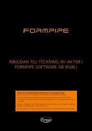 Inbjudan tIll tecknIng av aktIer I FormPIPe SoFtware ab (Publ)