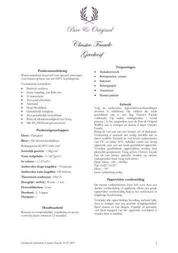 TF classico facade technische beschrijving - Soekijad