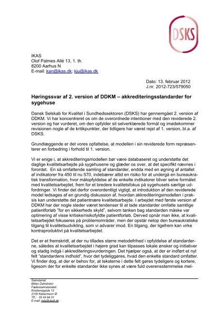 høringssvar til DDKM 2. version - DSKS - Dansk Selskab for Kvalitet ...