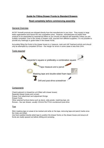 Guide for Fitting Drawer Fronts to Standard Drawers ... - DIY Homefit