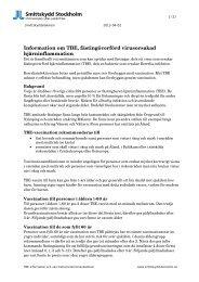 Smittskydd Stockholm / TBE-information - Webbhotell SLL