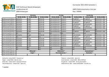 Uurrooster 2013-2014 semester 1 CVO Technicum Noord ...