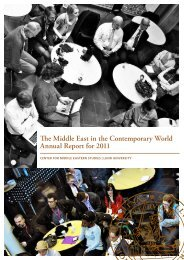 The Middle East in the Contemporary World Annual Report for 2011