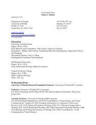 Curriculum Vitae - College of Liberal Arts and Sciences - University ...