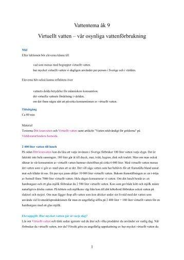 Virtuellt vatten, vattentorn (pdf). - Drick kranvatten