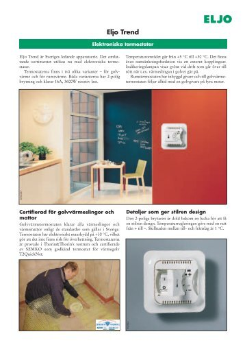 Eljo Trend - Elektroniska termostater (137 KB) - Schneider Electric
