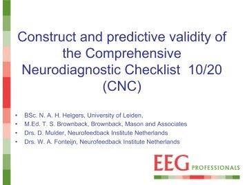 Construct and predictive validity of the Comprehensive - EEG ...